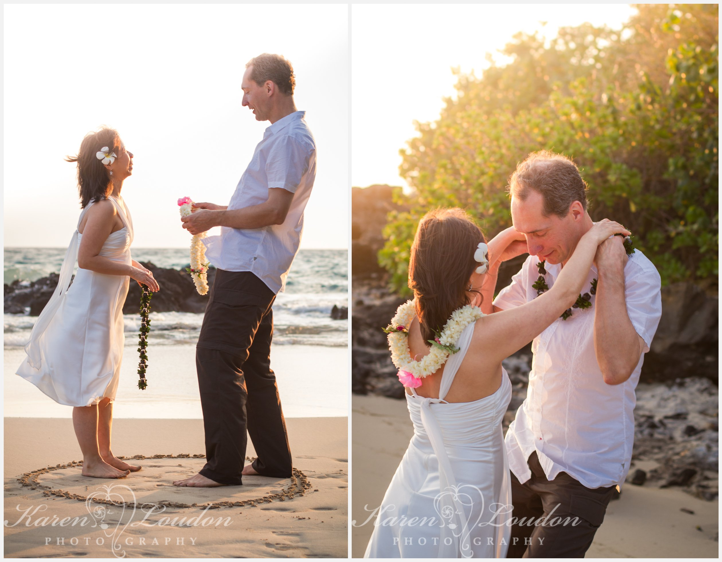 exchanging leis during a wedding at Hapuna Beach